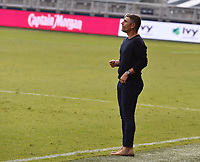KANSAS CITY, KS - SEPTEMBER 19: FC Dallas coach Luchi Gonzalez gives his players instructions during a game between FC Dallas and Sporting Kansas City at Children's Mercy Park on September 19, 2020 in Kansas City, Kansas.