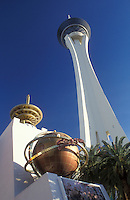 Las Vegas, casino, Stratosphere Tower, Nevada, NV, The Stratosphere Casino Hotel and Tower on The Strip in Las Vegas.