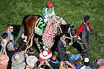 LOUISVILLE, KY - MAY 06: Javier Castellano acknowledges the crowd after winning the Kentucky Oaks aboard Cathryn Sophia #12 on May 6, 2016 in Louisville, Kentucky. (Photo by Jon Durr/Eclipse Sportswire/Getty Images)