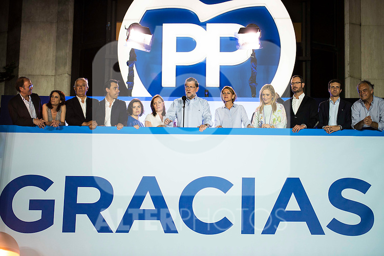 The left to the right, Jorge Fernandez Diaz, xxx, Andrea Levy, Javier Arenas, Fernando Martinez Maillo, Soraya Saenz de Santamaria, Elvira Fernandez Balboa, Mariano Rajoy, Maria Dolores de Cospedal, Cristina Cifuentes, Javier Maroto and Pablo Casado during the celebration of the victory of the Spanish Elections at the headquarter of Partido Popular in Madrid. June 26, 2016. (ALTERPHOTOS/BorjaB.Hojas)