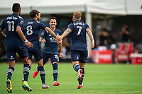 LAKE BUENA VISTA, FL - JULY 22: Johhny Russell #7 of Sporting Kansas City celebrates a goal during a game between Real Salt Lake and Sporting Kansas City at Wide World of Sports on July 22, 2020 in Lake Buena Vista, Florida.