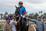"""ARCADIA, CA  SEPTEMBER 28:  <br /> #5 Mongolian Groom, ridden by Abel Cedillo, in the winners circle after winning the Awesome Again Stakes (Grade l) """"Win and You're Breeders' Cup Classic Division"""" on September 28, 2019 at Santa Anita Park in Arcadia, CA.(Photo by Casey Phillips/Eclipse Sportswire/CSM)"""