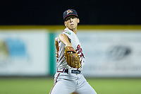 Danville Braves relief pitcher Connor Simmons (14) in action against the Burlington Royals at Burlington Athletic Stadium on August 15, 2017 in Burlington, North Carolina.  The Royals defeated the Braves 6-2.  (Brian Westerholt/Four Seam Images)