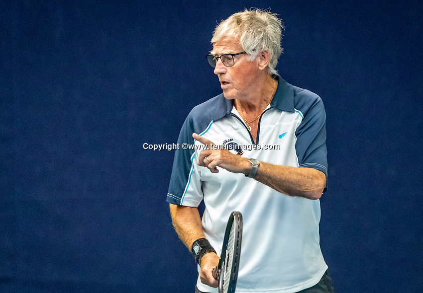 Hilversum, The Netherlands,  August 17, 2021,  Tulip Tennis Center, NKS, National Senior Tennis Championships, Men's single 80+  Peter Butter (NED)<br /> Photo: Tennisimages/Henk Koster
