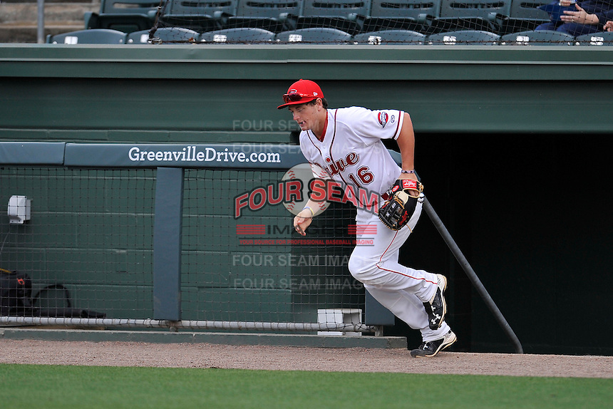 Right fielder Tate Matheny (16) of the Greenville Drive is introduced before a game against the Columbia Fireflies on Thursday, April 21, 2016, at Fluor Field at the West End in Greenville, South Carolina. Columbia won, 13-9. (Tom Priddy/Four Seam Images)