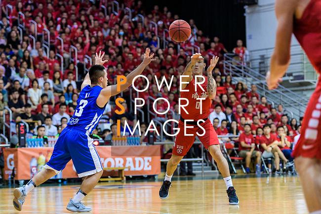 Glen Tang Robertson #00 of SCAA Men's Basketball Team (R) passes the ball during the Hong Kong Basketball League 2018 match between SCAA v Eastern Long Lions on August 10, 2018 in Hong Kong, Hong Kong. Photo by Marcio Rodrigo Machado/Power Sport Images