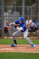 Indiana State Sycamores Seth Gergely (15) bunts during the teams opening game of the season against the Pitt Panthers on February 19, 2021 at North Charlotte Regional Park in Port Charlotte, Florida.  (Mike Janes/Four Seam Images)