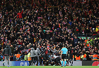 Atletico Madrid players celebrate in front of their travelling fans<br /> <br /> Photographer Rich Linley/CameraSport<br /> <br /> UEFA Champions League Round of 16 Second Leg - Liverpool v Atletico Madrid - Wednesday 11th March 2020 - Anfield - Liverpool<br />  <br /> World Copyright © 2020 CameraSport. All rights reserved. 43 Linden Ave. Countesthorpe. Leicester. England. LE8 5PG - Tel: +44 (0) 116 277 4147 - admin@camerasport.com - www.camerasport.com