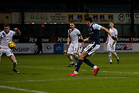 29th December 2020; Dens Park, Dundee, Scotland; Scottish Championship Football, Dundee FC versus Alloa Athletic; Osman Sow of Dundee shoots and scores an equaliser to level the score at 1-1 in the 48th minute