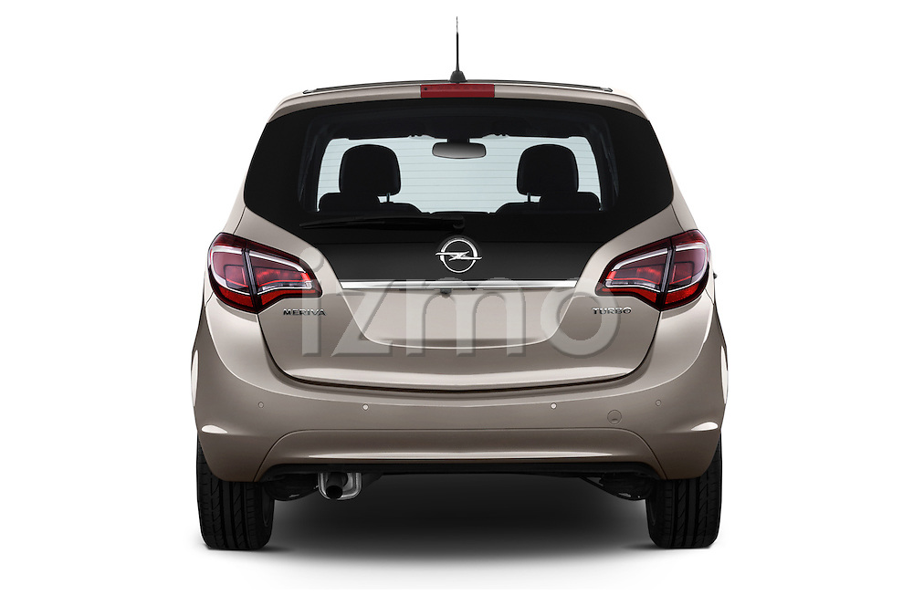 Straight Rear View 2014 Opel MERIVA Cosmo 5 Door Mini MPV 2WD Stock Photo