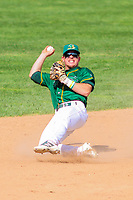 Beloit Snappers shortstop Trace Loehr (3) throws to third base during a Midwest League game against the Quad Cities River Bandits on June 18, 2017 at Pohlman Field in Beloit, Wisconsin.  Quad Cities defeated Beloit 5-3. (Brad Krause/Four Seam Images)
