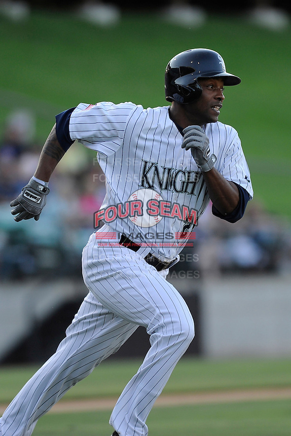 Center fielder Dewayne Wise (28) of the Charlotte Knights in a game against the Columbus Clippers on Saturday, June 15, 2013, at Knights Stadium in Fort Mill, South Carolina. Columbus won, 4-2. (Tom Priddy/Four Seam Images)