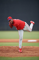 GCL Phillies East pitcher Gabriel Yanez (81) during a Gulf Coast League game against the GCL Yankees East on July 31, 2019 at Yankees Minor League Complex in Tampa, Florida.  GCL Phillies East defeated the GCL Yankees East 4-3 in the second game of a doubleheader.  (Mike Janes/Four Seam Images)