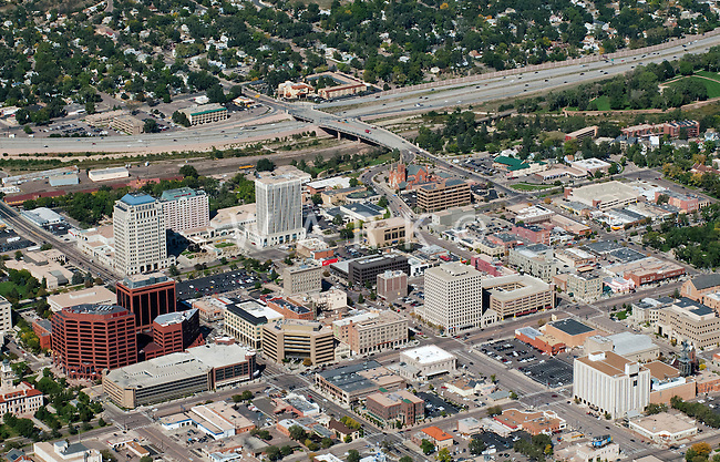 Aerial of downtown Colorado Springs, CO