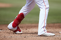 A closeup of the cleats worn by Jose Rodriguez (12) of the Kannapolis Cannon Ballers during the game against the Carolina Mudcats at Atrium Health Ballpark on June 13, 2021 in Kannapolis, North Carolina. (Brian Westerholt/Four Seam Images)