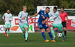 11.10.2020, Marschwegstadion, Oldenburg, GER, RL Nord, Gruppe Süd, VfB Oldenburg vs SV Werder Bremen u23,  DFL regulations prohibit any use of photographs as image sequences and/or quasi-video, im Bild<br /> Julian RIECKMANN (SV Werder Bremen U23 #33 ) Max WEGNER (VfB Oldenburg #9 ) Marin PUDIC (SV Werder Bremen U23 #14 )<br /> <br /> Foto © nordphoto / Rojahn