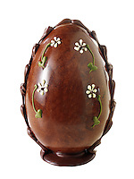 Traditional decorated chocolate Easter eggs