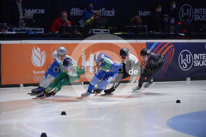 SPEEDSKATING: DORDRECHT: 06-03-2021, ISU World Short Track Speedskating Championships, RF 1500m Men, Radek Fajkus (CZE), Liam O'Brien (IRL), Yuri Confortola (ITA), Michal Niewinski (POL), Ryan Pivirotto (USA), ©photo Martin de Jong