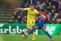 Ross BARKLEY of Chelsea & Aaron Wan-Bissaka of Crystal Palace during the Premier League match between Crystal Palace and Chelsea at Selhurst Park, London, England on 30 December 2018. Photo by Andrew Aleks.