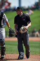 Home plate umpire Bobby Tassone during a Midwest League game between the Wisconsin Timber Rattlers and Great Lakes Loons at Dow Diamond on May 4, 2019 in Midland, Michigan. Great Lakes defeated Wisconsin 5-1. (Zachary Lucy/Four Seam Images)