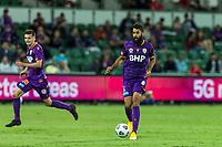 24th March 2021; HBF Park, Perth, Western Australia, Australia; A League Football, Perth Glory versus Sydney FC; Perth Glory player Osama Malik with the ball