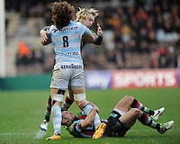Camille Gerondeau of Racing Metro 92 runs into Matt Hopper and Mike Brown of Harlequins during the Heineken Cup match between Harlequins and Racing Metro 92 at the Twickenham Stoop on Sunday 15th December 2013 (Photo by Rob Munro)