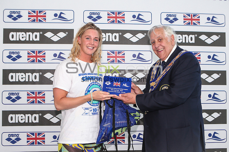 Picture by Alex Whitehead/SWpix.com - 26/04/2015 - Swimming - The National Arena Swimming League A Finals - Cardiff International Pool, Cardiff, Wales - Female Swimmer of the Meet Jeanette Ottesen of Guildford