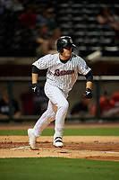 Birmingham Barons Blake Rutherford (9) runs to first base during a Southern League game against the Chattanooga Lookouts on May 1, 2019 at Regions Field in Birmingham, Alabama.  Chattanooga defeated Birmingham 5-0.  (Mike Janes/Four Seam Images)