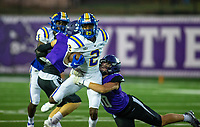 Jiquori Stewart (2) of North Little Rock gets tackled by Brooks Yurachek (10) of Fayetteville at Harmon Field , AR, on Friday,September 10, 2021 / Special to NWADG David Beach