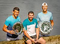 Den Bosch, Netherlands, 16 June, 2018, Tennis, Libema Open, Winners men's doubles: Dominic Inglot (GBR) his coach Rob Smith (M) and Michael Venus (NZL)<br /> Photo: Henk Koster/tennisimages.com