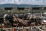 Sullom Voe oil gas terminal 1970s Shetland Islands Scotland construction of oil industry site for BP British Petroleum to take North Sea oil. 1979