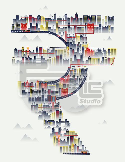 Illustrative image of buildings in euro sign representing Europe