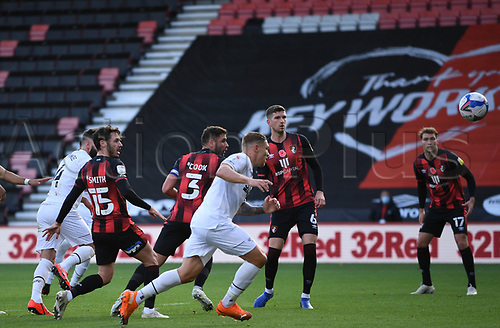 31st October 2020; Vitality Stadium, Bournemouth, Dorset, England; English Football League Championship Football, Bournemouth Athletic versus Derby County; GraemeShinnie of Derby County heads home the first goal in 14th minute 0-1