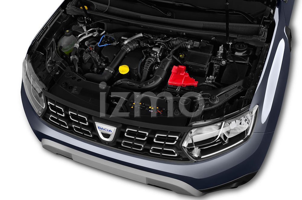 Car stock 2018 Dacia Duster Duster 5 Door SUV engine high angle detail view