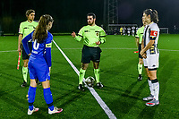 assistant referee Alexandre Minnoy , Genk's midfielder Sien Vandersanden (10) , referee Pierre Tirone , assistant referee Jordan Vandenborre , Charleroi defender Noemie Fourdin (11) pictured during a female soccer game between Sporting Charleroi and KRC Genk Ladies on the 9th matchday of the 2020 - 2021 season of Belgian Scooore Womens Super League , friday 11 th of December 2020  in Marcinelle , Belgium . PHOTO SPORTPIX.BE | SPP | STIJN AUDOOREN