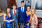 Jessica Murphy, James Fernane, Daire Kennelly, Jennifer McLoughlan and Caitlin Brick attending the Mercy Mounthawk Debs in the Ballyroe Heights Hotel on Friday.