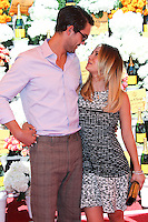 PACIFIC PALISADES, CA - OCTOBER 05: Actress Kaley Cuoco shows off engagement ring (engaged to fiance Ryan Sweeting) at the 4th Annual Veuve Clicquot Polo Classic held at Will Rogers Polo Grounds on October 5, 2013 in Pacific Palisades, California. (Photo by Xavier Collin/Celebrity Monitor)