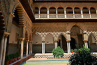 Patio de las Doncellas (Courtyard of the Maidens) an Italian Renaissance courtyard (1540-72) with Arabesque Mudéjar style plaster work, Alcazar of Seville, Seville, Spain