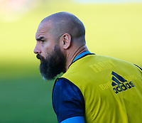 23th April 2021; RDS Arena, Dublin, Leinster, Ireland; Rainbow Cup Rugby, Leinster versus Munster; Ciarán Frawley of Leinster warms up prior to kickoff