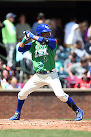 Lexington Legends shortstop Humberto Arteaga (1) at bat during a game against the Hagerstown Suns on May 19, 2014 at Whitaker Bank Ballpark in Lexington, Kentucky.  Lexington defeated Hagerstown 10-8.  (Mike Janes/Four Seam Images)