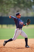Atlanta Braves Derian Cruz (55) during a minor league Spring Training game against the Detroit Tigers on March 25, 2017 at ESPN Wide World of Sports Complex in Orlando, Florida.  (Mike Janes/Four Seam Images)