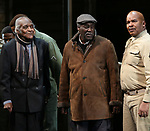 """Douglas Turner Ward, Charles Fuller and David Alan Grier During the Broadway Opening Night Curtain Call Bows for The Roundabout Theatre Company's """"A Soldier's Play""""  at the American Airlines Theatre on January 21, 2020 in New York City."""