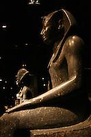 ITALIA - Torino - Museo Egizio  Statua del faraone Thutmosi I Il faraone è seduto sul trono d'Egitto con l'abbigliamento tradizionale , copricapo di stoffa pieghettato, diadema decorato dal cobra ureo e il gonnellino shendyt La coda leonina tra le gambe del sovrano è tipica delle prime raffigurazioni di faraoni..i nomi del sovrano sono incisi in cartigli ovali ai lati delle gambe..Diorite XVIII dinastia regno di Thutmosi I 1494 - 1482 a.C. tempio di Amon Tebe