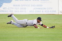 Center fielder Delino DeShields Jr. #4 of the Greeneville Astros makes a diving catch against the Elizabethton Twins at Joe O'Brien Field August 15, 2010, in Elizabethton, Tennessee.  Photo by Brian Westerholt / Four Seam Images