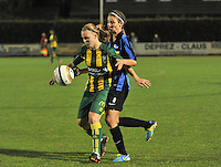 20130906 - VARSENARE , BELGIUM : ADO's Tessa Oudejans pictured protecting the ball for Brugge's Nicky Van Den Abbeele (right) during the female soccer match between Club Brugge Vrouwen and ADO DEN HAAG Dames , of the third matchday in the BENELEAGUE competition. Friday 06 th September 2013. PHOTO JOKE VUYLSTEKE