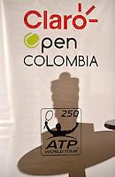 BOGOTA -COLOMBIA. 12-07-2014. Trofeo para el Campeón presentado durante rueda de prensa previo al inicio del Claro Open Colombia 2014 a realizarse en la ciudad de Bogotá entre el  14 y el  20 de julio./ The trophy for the champion, presented at press conference prior of the start of Claro Open Colombia 2014 to be held in Bogota between July 14-20. Photo: VizzorImage/ Gabriel Aponte / Staff