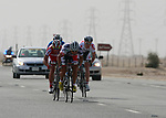 The breakaway Mehdi Sohrabi (IRI) Lotto-Belisol Team leads Mikhail Ignatyev (RUS) Katusha Team and Alexandre Lemair (FRA) over the line at the 1st bonus sprint point near Umm Al Qahab during Stage 3 of the 2012 Tour of Qatar running 146.5km from Dukhan Souq, Dukhan to Al Gharafa, Qatar. 7th February 2012.<br /> (Photo Eoin Clarke/Newsfile)