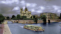 Notre Dame Cathedral and sightseeing boat on Seine River, Paris, France. Hand-tinted..
