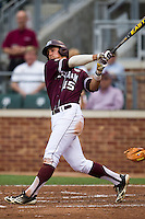 Texas A&M Aggies designated hitter Daniel Mengden (15) follows through on his swing against the LSU Tigers in the NCAA Southeastern Conference baseball game on May 10, 2013 at Blue Bell Park in College Station, Texas. LSU defeated Texas A&M 7-4. (Andrew Woolley/Four Seam Images).