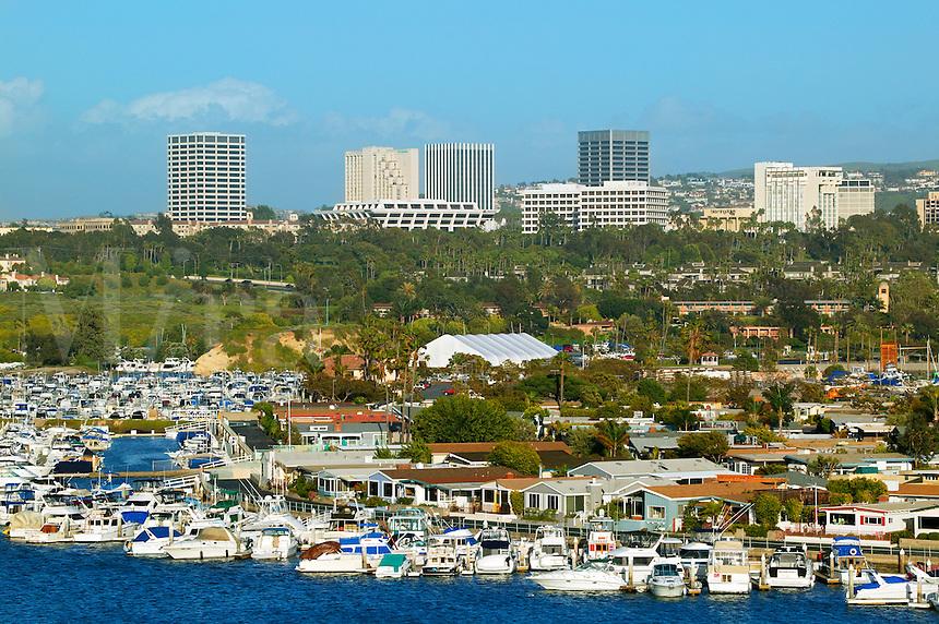 Boats in Newport Harbor, Fashion Island in the distance, Newport Beach, California